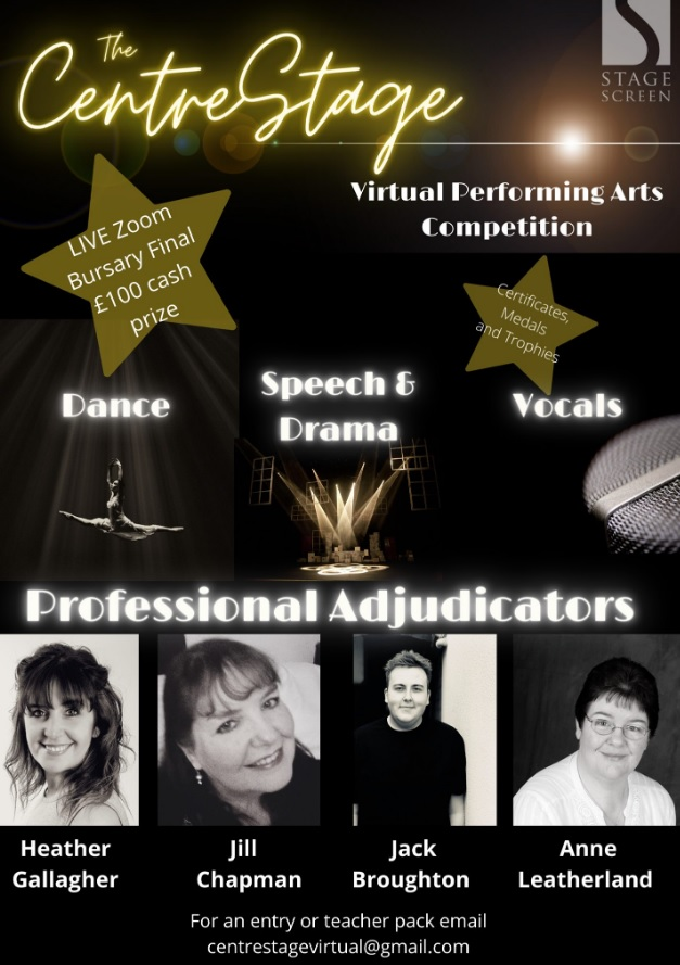 Poster for the 2020 Centre Stage Virtual Performing Arts competition