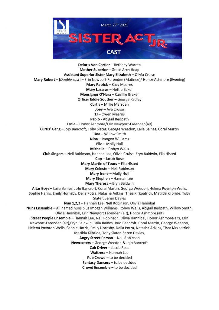 StageScreen Sister Act Jr cast list