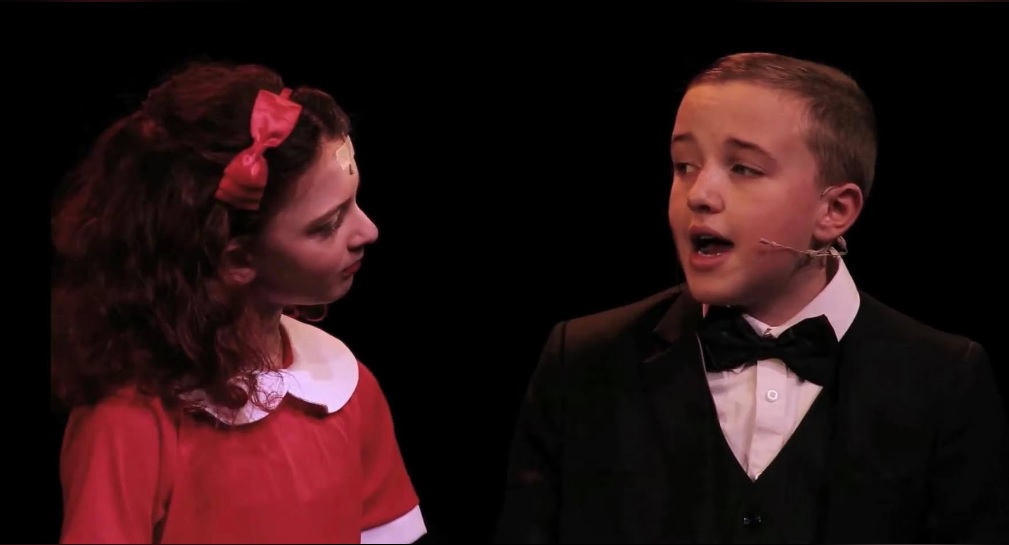 Eryn and George as Annie and Daddy Warbucks In Annie Jr