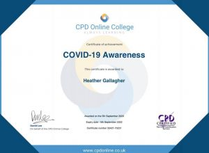 COVID-19 awareness certificate for Heather Gallagher