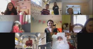 Santa zoom call with Debut class