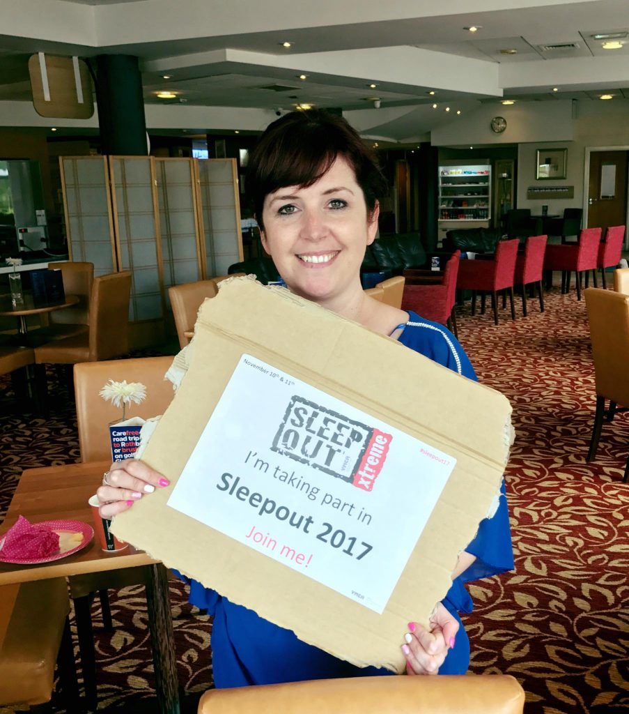 Heather Gallagher takes part in Sleepout 2017