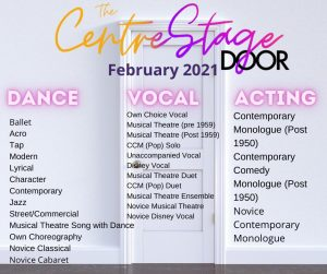 Categories for Centre Stage performing Arts Competition